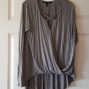 White House Black Market gray bubble hem hi-lo top